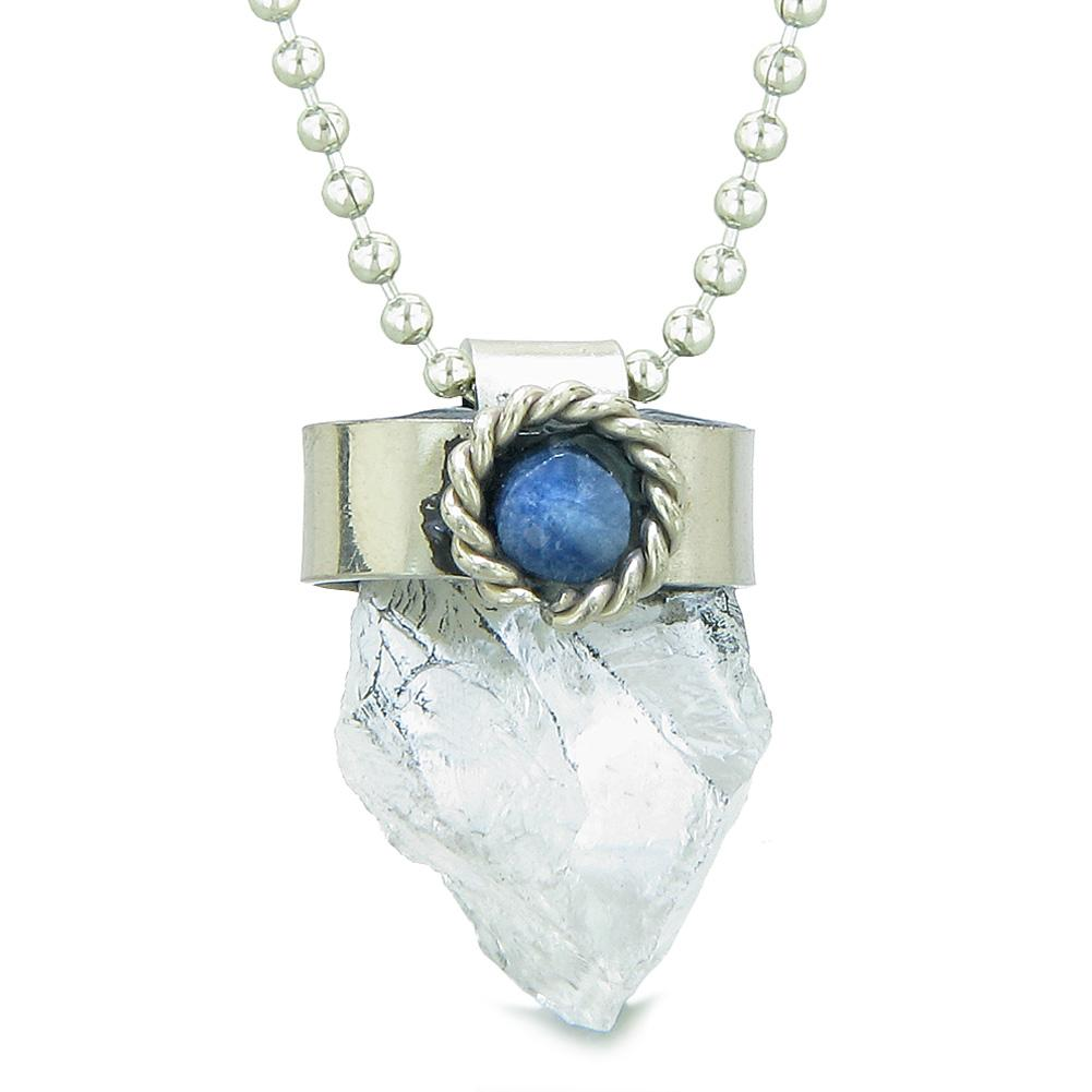 Handcrafted Free Form Rough Crystal Quartz and Sodalite Cabochon Amulet 22 Inch Pendant Necklace