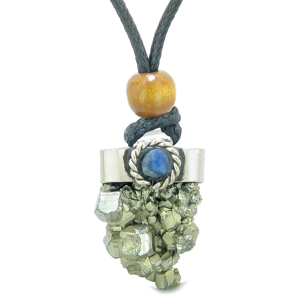 Handcrafted Free Form Rough Pyrite Iron and Sodalite Cabochon Amulet Pendant Adjustable Necklace