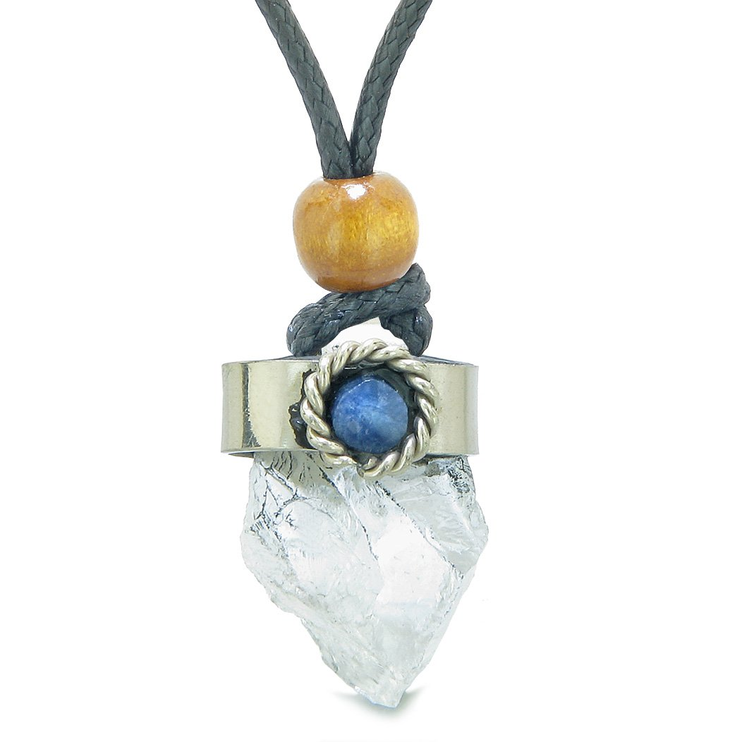 Handcrafted Free Form Rough Crystal Quartz and Sodalite Cabochon Amulet Pendant Adjustable Necklace