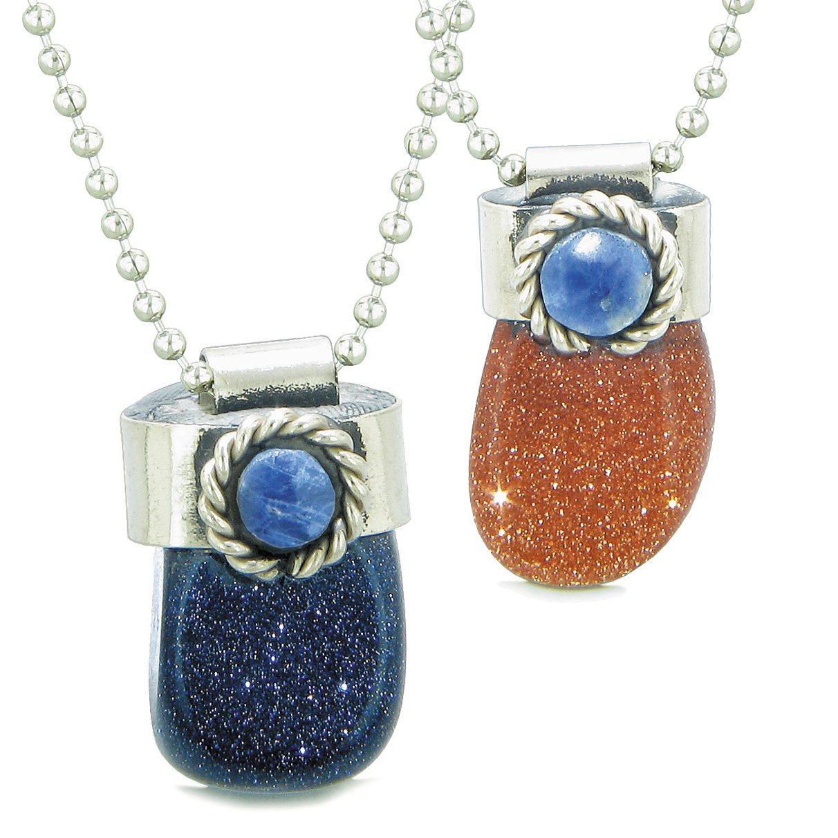 Handcrafted Free Form Tumbled Blue and Red Goldstone Sodalite Cabochon Amulet Love Couples Set Necklaces