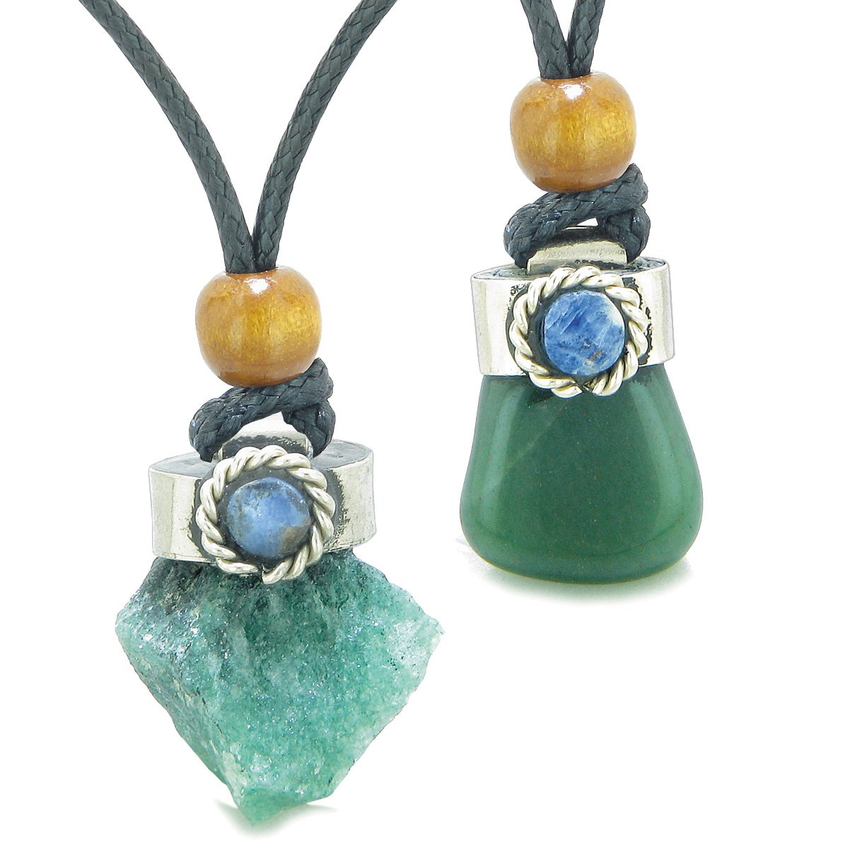 Handcrafted Free Form Tumbled and Rough Green Quartz Sodalite Cabochon Love Couples Amulet Set Necklaces