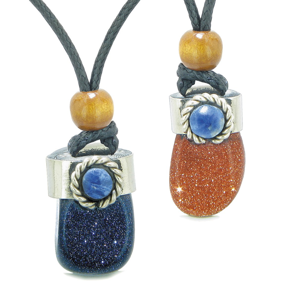 Handcrafted Free Form Tumbled Blue and Red Goldstone Sodalite Cabochon Love Couples Amulet Set Necklaces