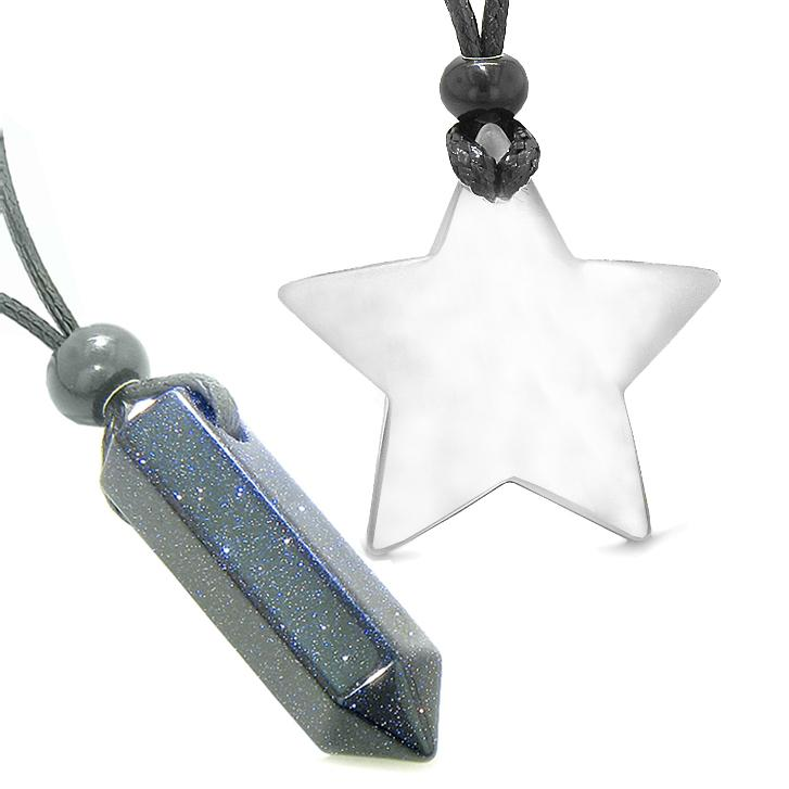Amulets Lucky Crystal Point Magic Star Love Couples Blue Goldstone White Cats Eye Charms Necklaces