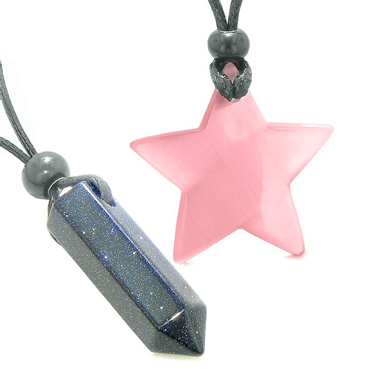 Amulets Lucky Crystal Point Magic Star Love Couples Blue Goldstone Pink Cats Eye Charms Necklaces