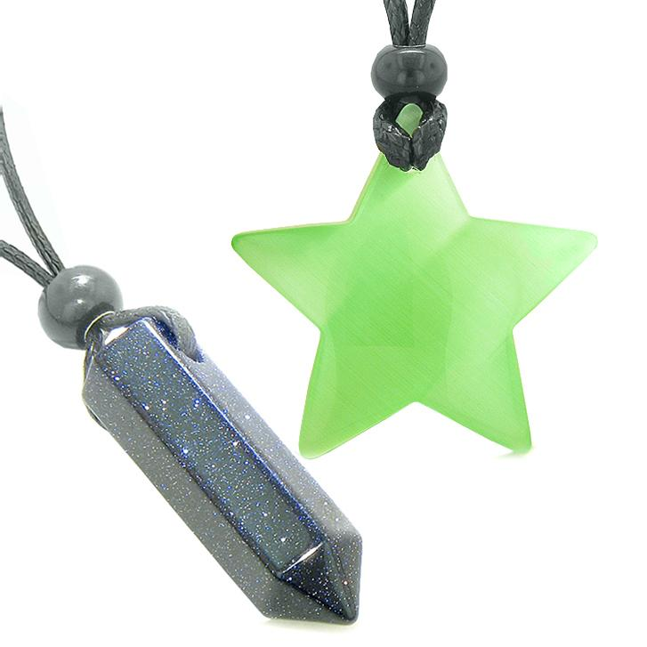 Amulets Lucky Crystal Point Magic Star Love Couples Blue Goldstone Green Cats Eye Charms Necklaces