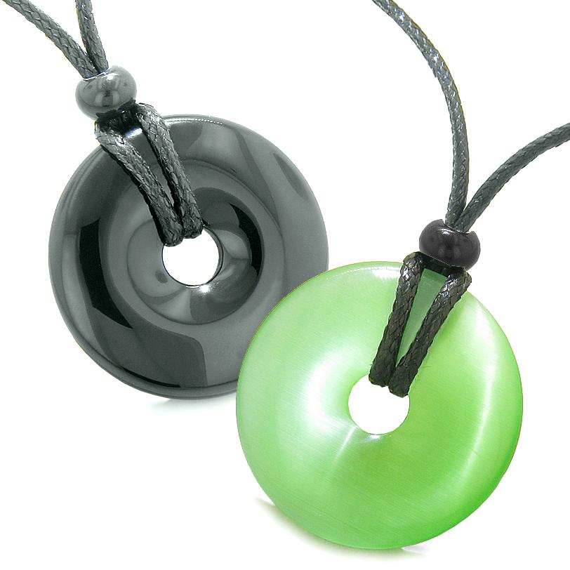 Large Lucky Charms Coin Donuts Positive Powers Best Friends Black Agate Green Cats Eye Necklaces