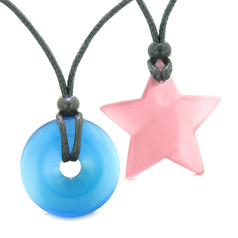 Large Coin Donut Super Star Amulet Love Couple or Best Friends Sky Blue and Pink Cats Eye Necklaces
