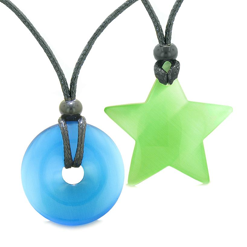 Large Coin Donut Super Star Amulet Love Couple or Best Friends Sky Blue Green Cats Eye Necklaces