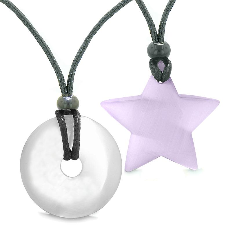 Large Coin Donut Super Star Amulet Love Couple or Best Friends White and Purple Cats Eye Necklaces