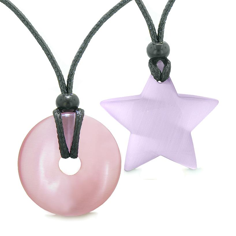Large Coin Donut Super Star Amulet Love Couple or Best Friends Pink and Purple Cats Eye Necklaces