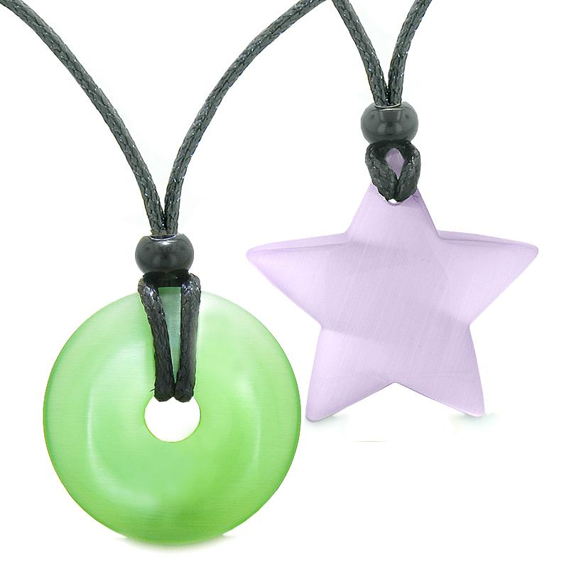 Large Coin Donut Super Star Amulet Love Couple or Best Friends Green Purple Cats Eye Necklaces