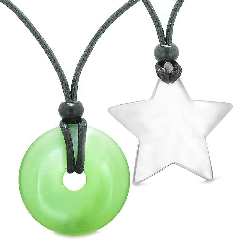 Large Coin Donut Super Star Amulet Love Couple or Best Friends Green White Cats Eye Necklaces