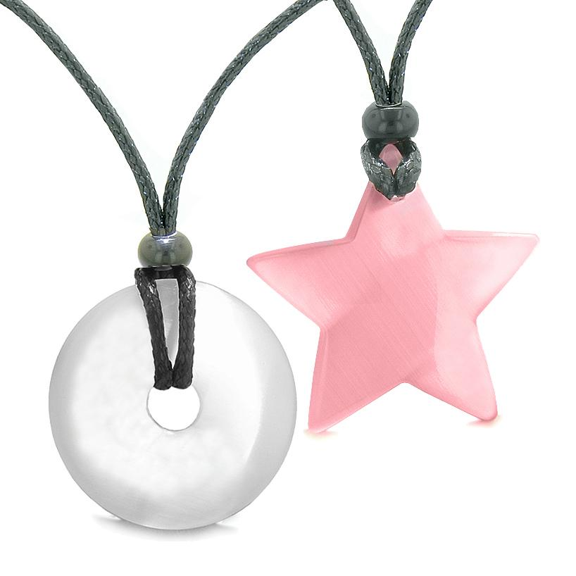 Large Coin Donut Super Star Amulet Love Couple or Best Friends White and Pink Cats Eye Necklaces