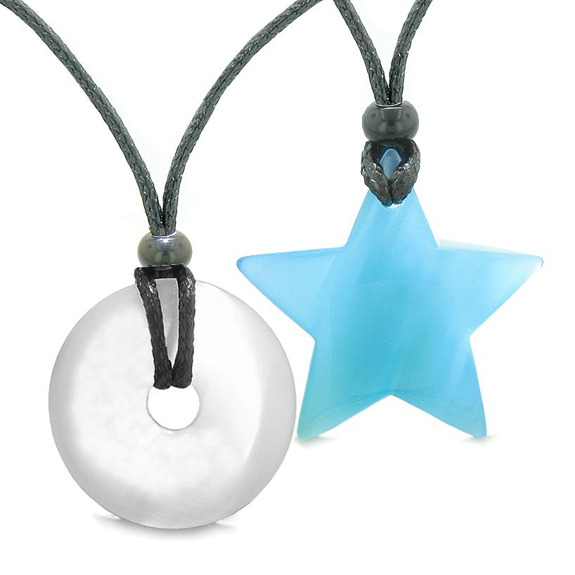 Large Coin Donut Super Star Amulet Love Couple or Best Friends White Sky Blue Cats Eye Necklaces