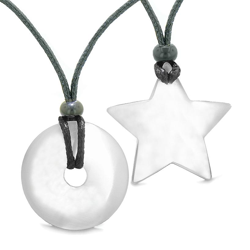 Large Coin Donut Super Star Amulet Love Couple or Best Friends White Cats Eye Necklaces