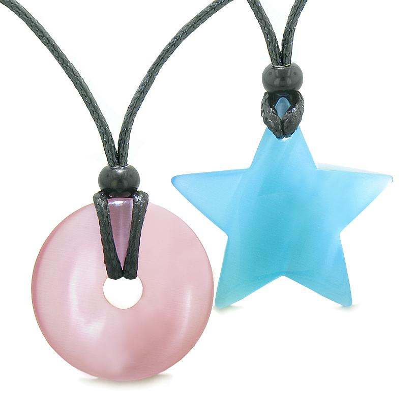 Large Coin Donut Super Star Amulet Love Couple or Best Friends Pink and Sky Blue Cats Eye Necklaces