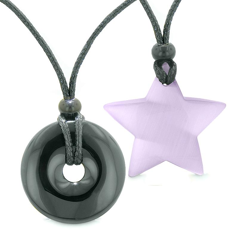 Large Coin Donut Super Star Amulet Love Couple or Best Friends Agate Purple Cats Eye Necklaces