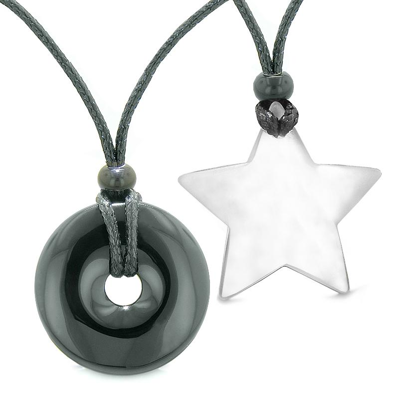 Large Coin Donut Super Star Amulet Love Couple or Best Friends Black Agate White Cats Eye Necklaces