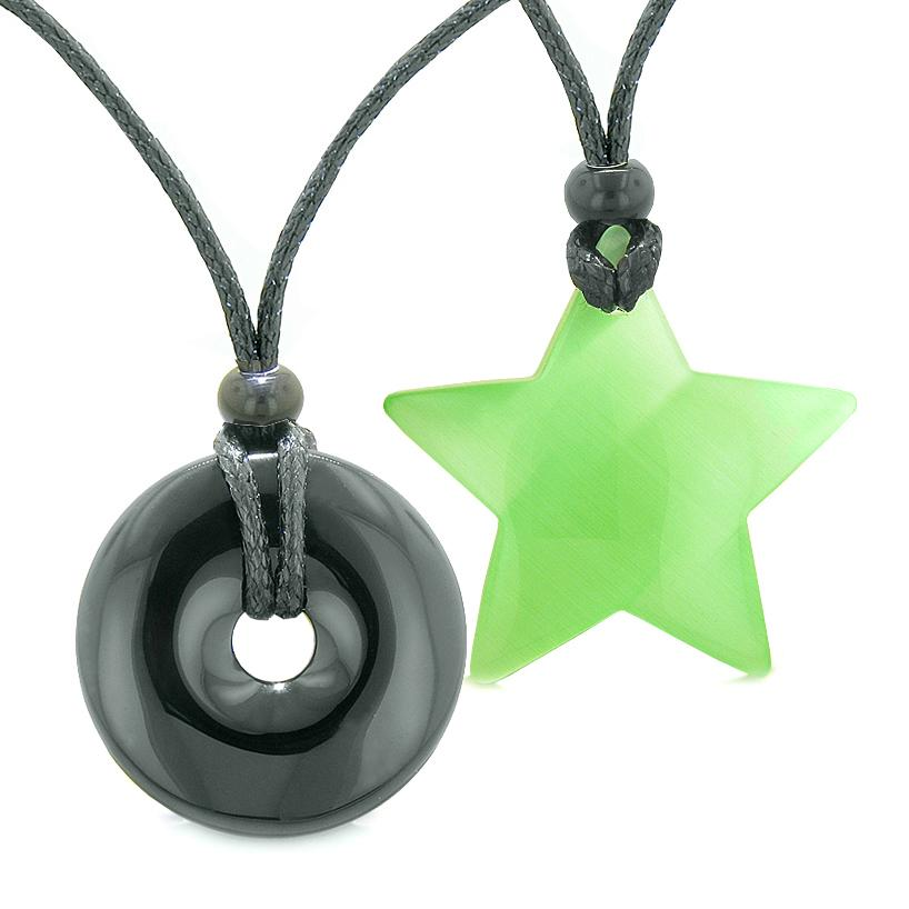 Large Coin Donut Super Star Amulet Love Couple or Best Friends Black Agate Green Cats Eye Necklaces