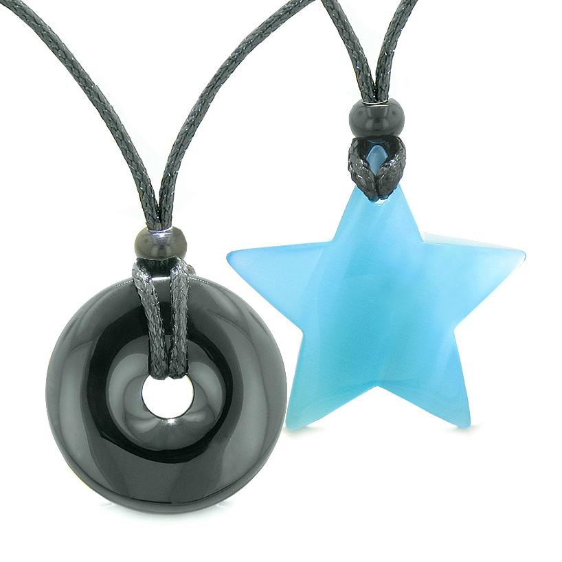 Large Coin Donut Super Star Amulet Love Couple or Best Friends Agate Sky Blue Cats Eye Necklaces