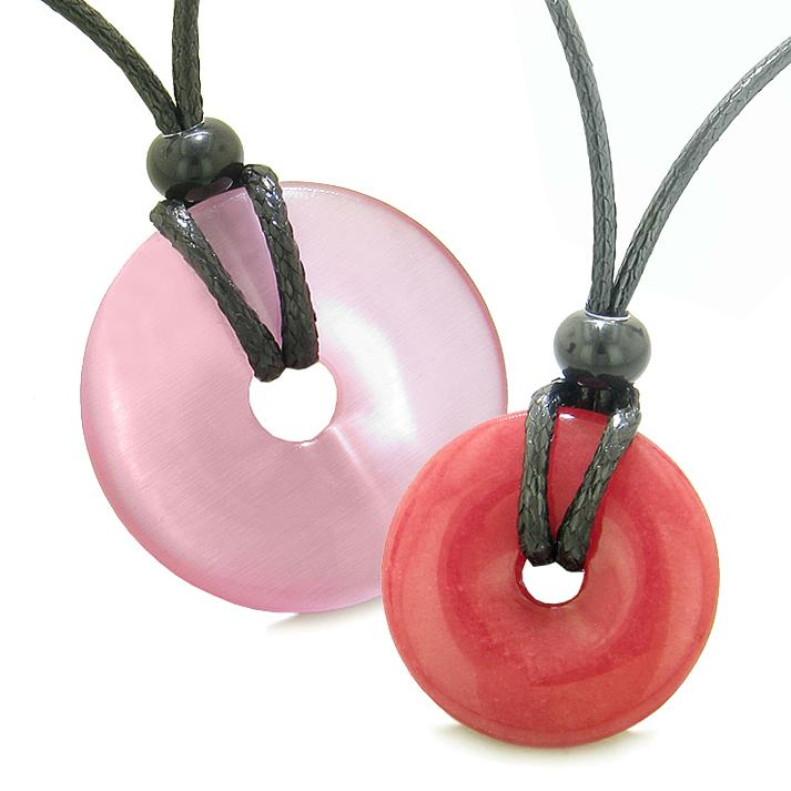 Large Small Lucky Coin Donuts Amulets Love Couples Pink Cats Eye Cherry Red Quartz Charms Necklaces