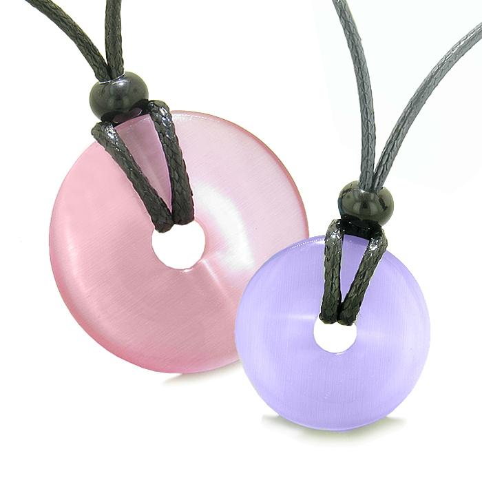 Large and Small Lucky Coin Donuts Amulets Love Couples Pink and Purple Cats Eye Charms Necklaces