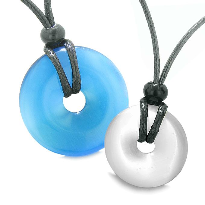 Large Lucky Charms Coin Donuts Positive Powers Best Friends Sky Blue White Cats Eye Necklaces