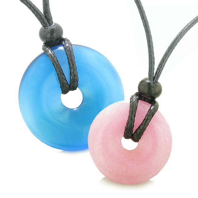 Large Small Lucky Coin Donuts Amulets Love Couples Sky Blue Cats Eye Pink Quartz Charm Necklaces