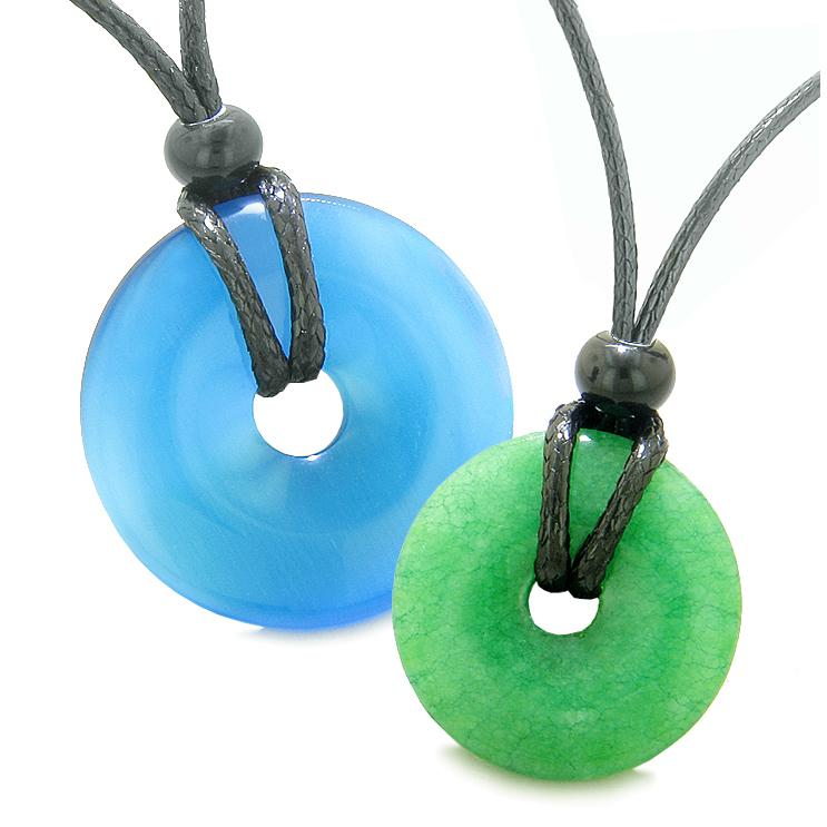 Large Small Lucky Coin Donuts Amulets Love Couples Sky Blue Cats Eye Green Quartz Charm Necklaces