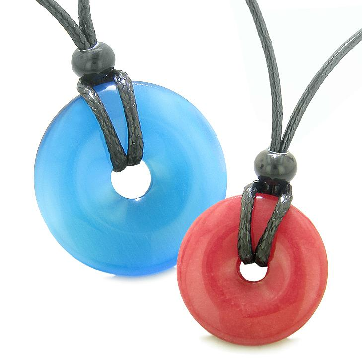 Large Small Lucky Coin Donuts Amulets Love Couples Sky Blue Cats Eye Cherry Red Quartz Necklaces