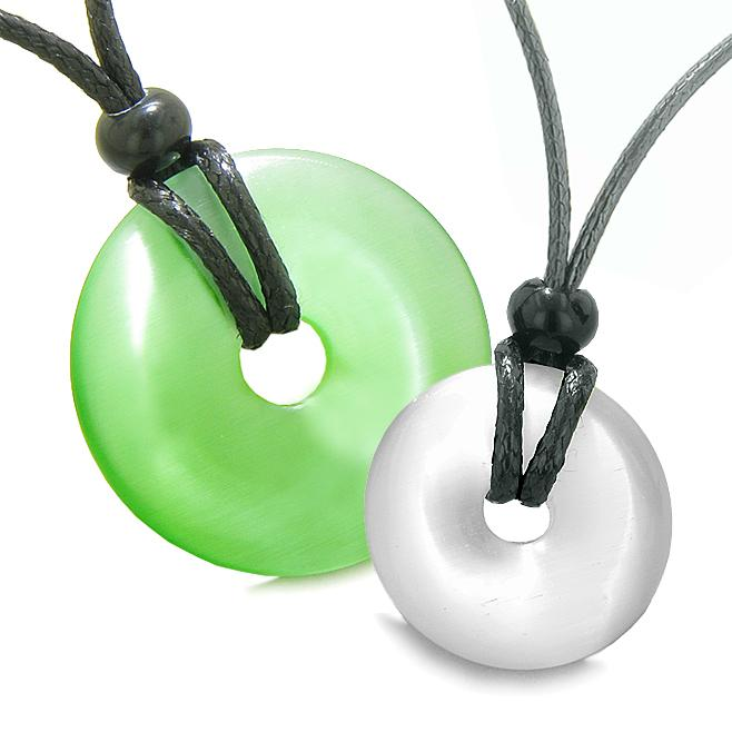Large Small Lucky Coin Donuts Amulets Love Couples Green White Cats Eye Charms Necklaces