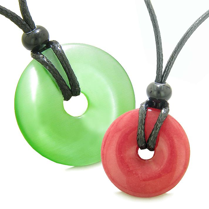 Large Small Lucky Coin Donuts Amulets Love Couples Green Cats Eye Cherry Red Quartz Necklaces