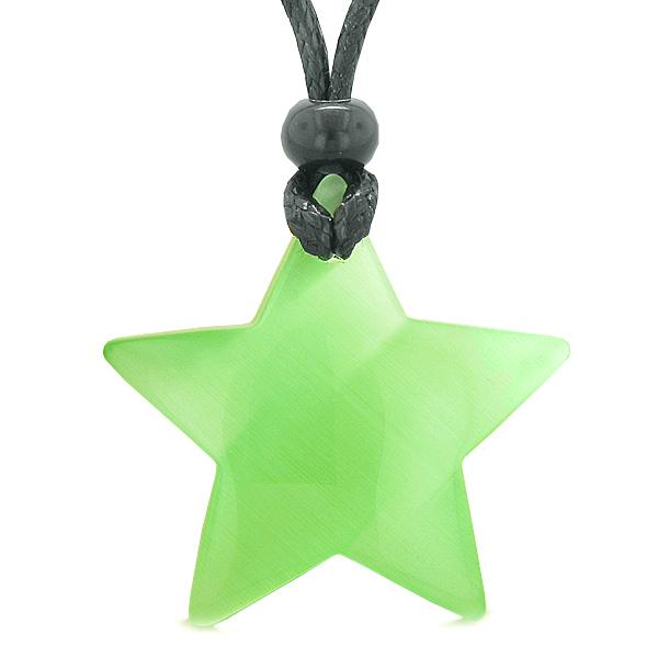 Amulet Magic Super Star Positive Powers Neon Green Cat's Eye Crystal Lucky Charm Pendant Necklace