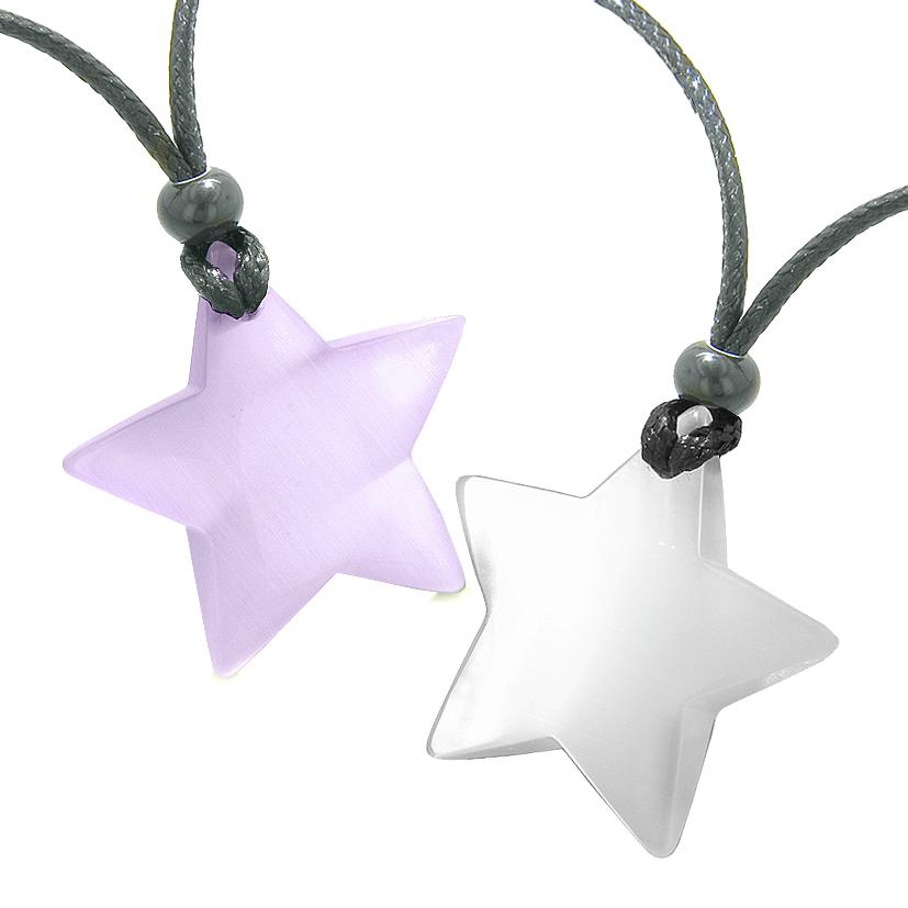 Super Star Amulets Love Couple or Best Friends Set Purple and White Cat's Eye Crystal Necklaces