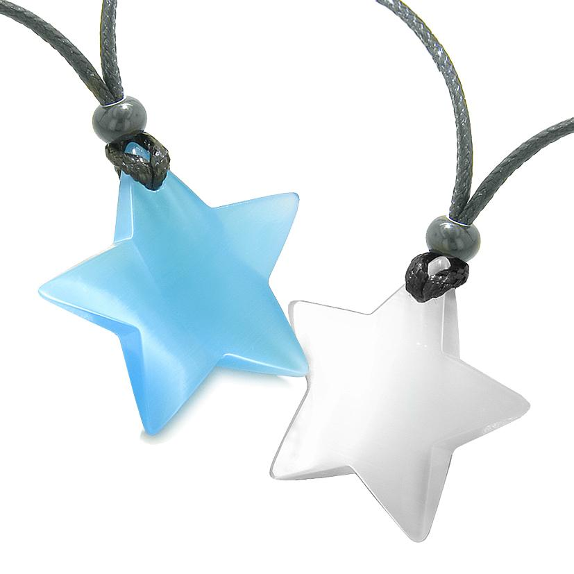 Super Star Amulets Love Couple or Best Friends Set Sky Blue and White Cat's Eye Crystal Necklaces