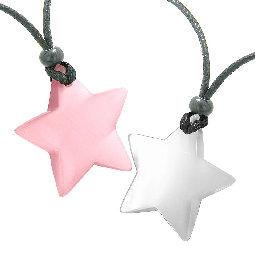 Super Star Amulets Love Couple or Best Friends Set Pink and White Cat's Eye Crystal Necklaces