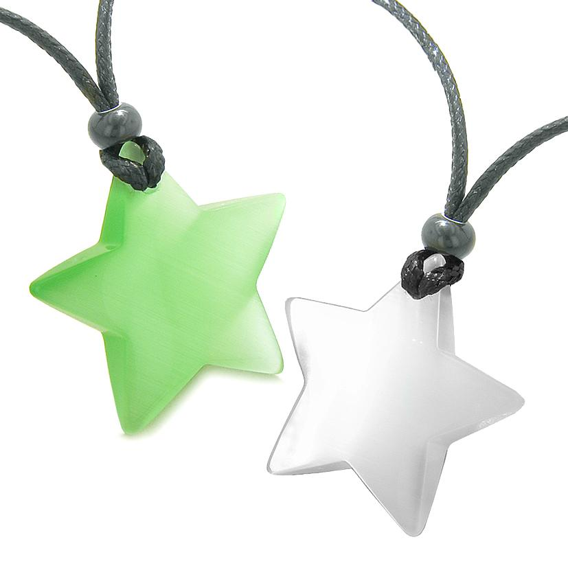 Super Star Amulets Love Couple or Best Friends Set Green White Cats Eye Crystal Necklaces