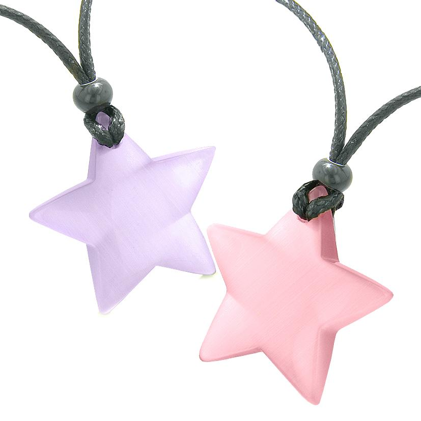 Super Star Amulets Love Couple or Best Friends Set Purple and Pink Cat's Eye Crystal Necklaces