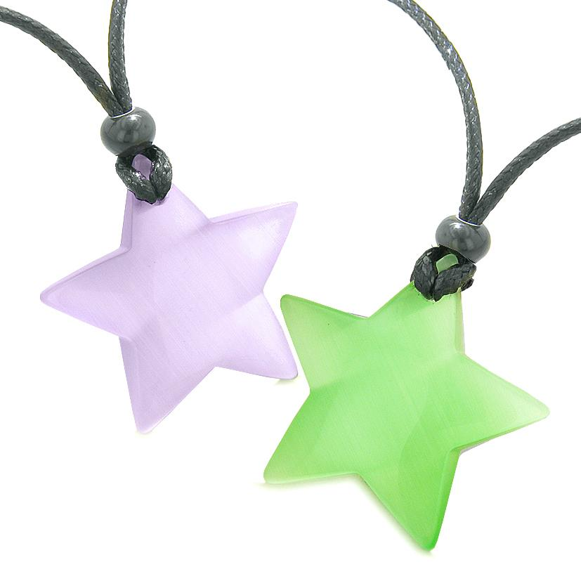 Super Star Amulets Love Couple or Best Friends Set Purple Green Cats Eye Crystal Necklaces