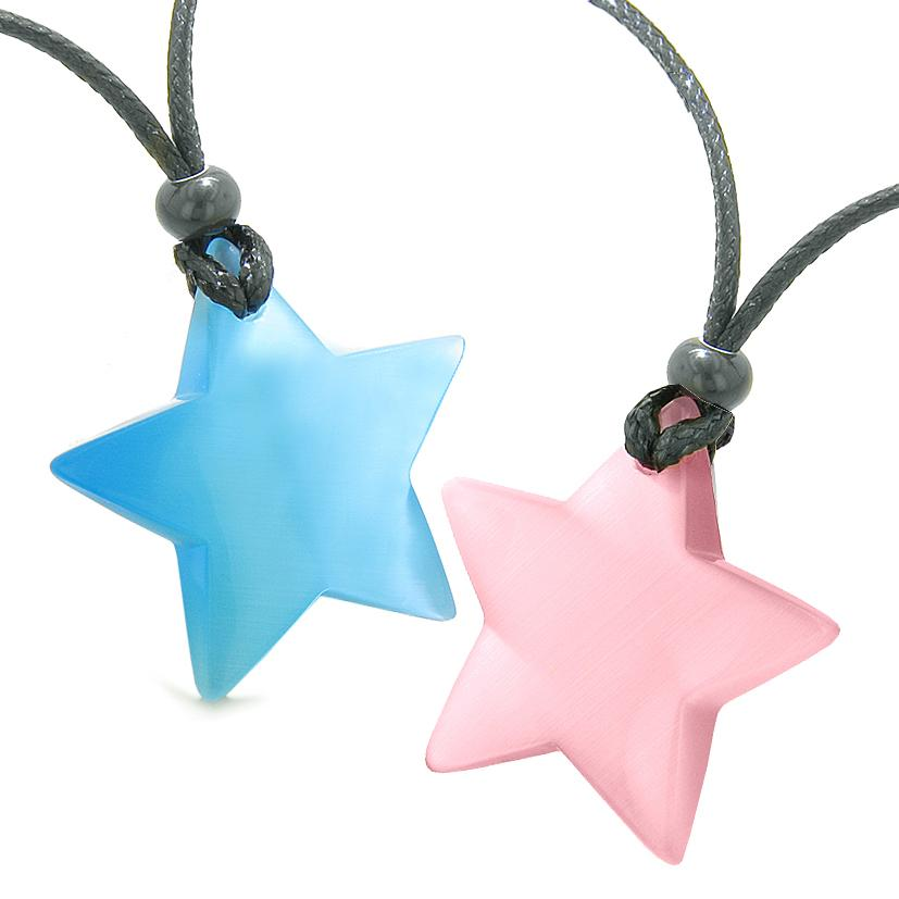 Super Star Amulets Love Couple or Best Friends Set Sky Blue and Pink Cat's Eye Crystal Necklaces
