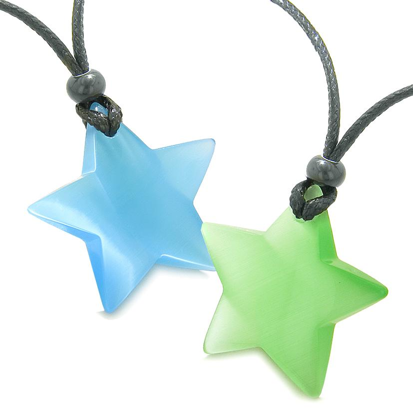 Super Star Amulets Love Couple or Best Friends Set Sky Blue Green Cats Eye Crystal Necklaces