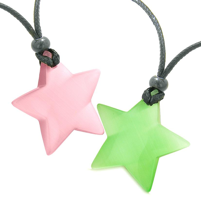 Super Star Amulets Love Couple or Best Friends Set Pink Green Cats Eye Crystal Necklaces