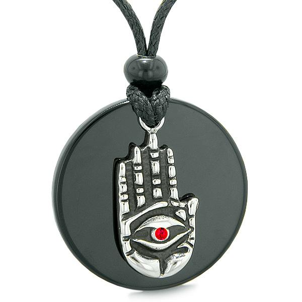 All Seeing Feeling Buddha Eye Hamsa Magic Agate Red Crystal Pendant Necklace