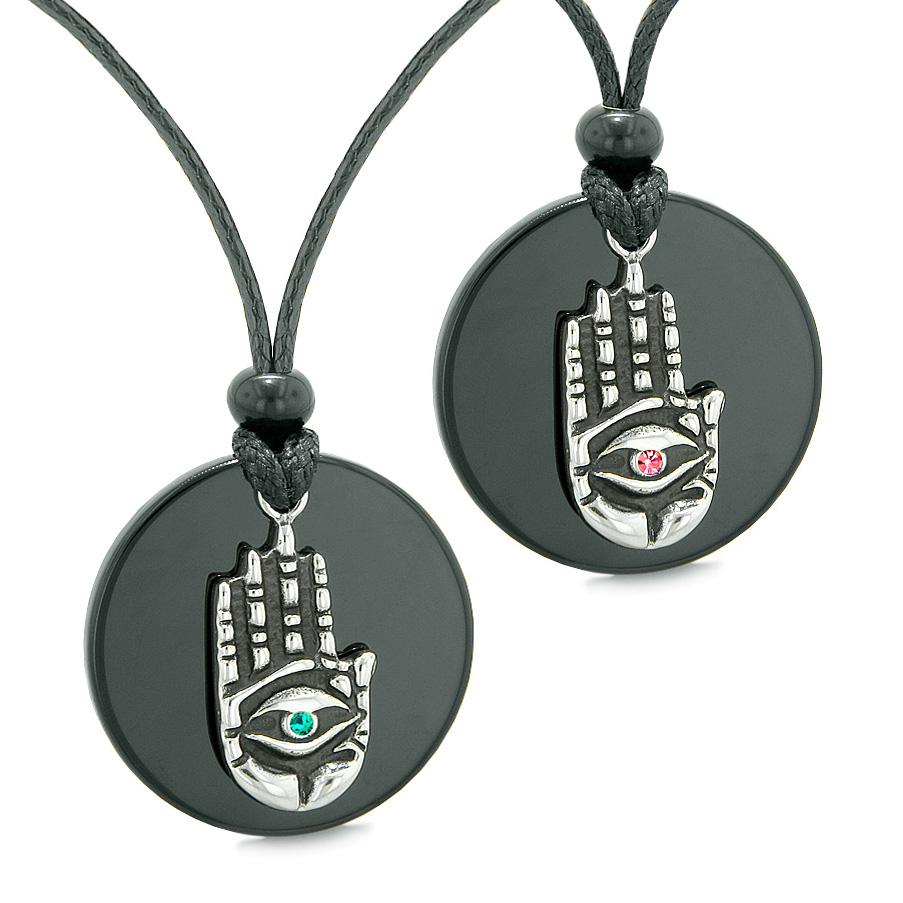 All Seeing Feeling Buddha Eye Hamsa Love Couples Best Friends Agate Pink Green Medallion Necklaces