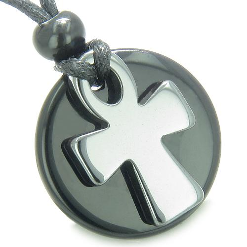 Ankh Egyptian Power of Life Medallion Amulet Spiritual Protection Powers Onyx Hematite Necklace
