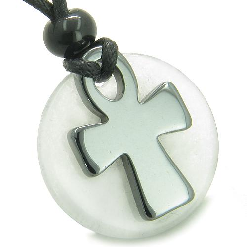 Ankh Egyptian Power of Life Medallion Amulet Good Luck Protection Powers Jade Hematite Necklace