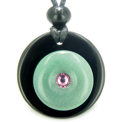 Double Lucky Donut MedalliPink Swarovski Eye Crystal Onyx Aventurine Good Luck Pendant Necklace