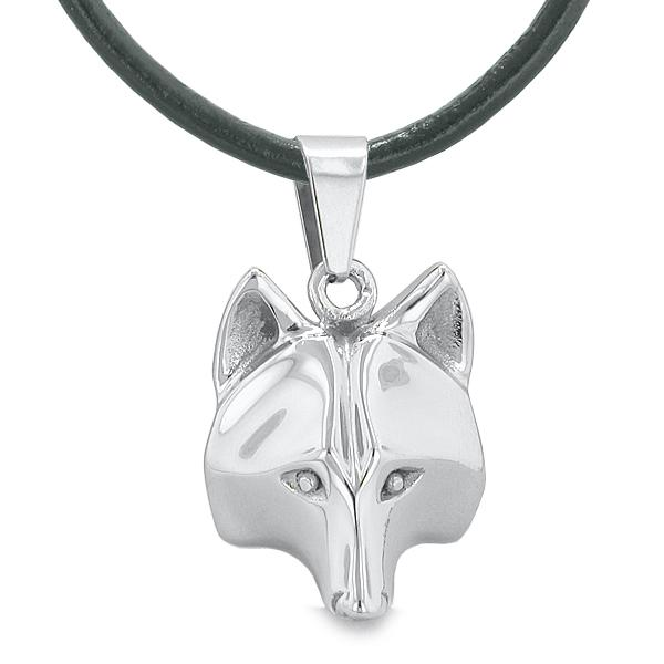 """Amulet Wolf Courage and Self Confidence Powers Wise Head Pendant on 18"""" Leather Cord Necklace"""