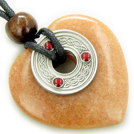 Celtic Triquetra Knot Money Amulet Red Aventurine Heart Necklace
