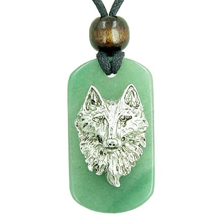 Wise Wolf Head Green Aventurine Money Powers Magic Tag Amulet Pendant Necklace